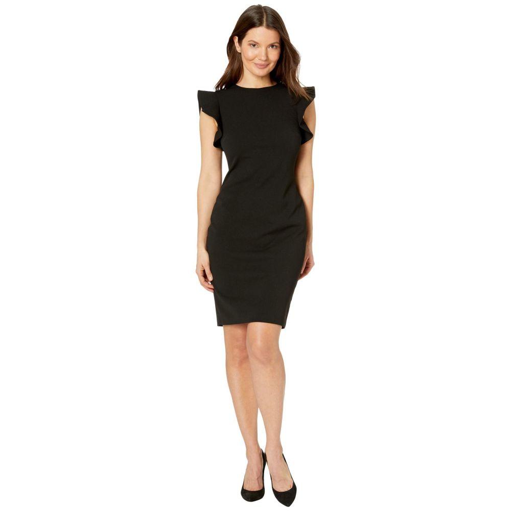 カルバンクライン Calvin Klein レディース ワンピース ワンピース・ドレス【Ruffle Arm Sheath Dress】Black