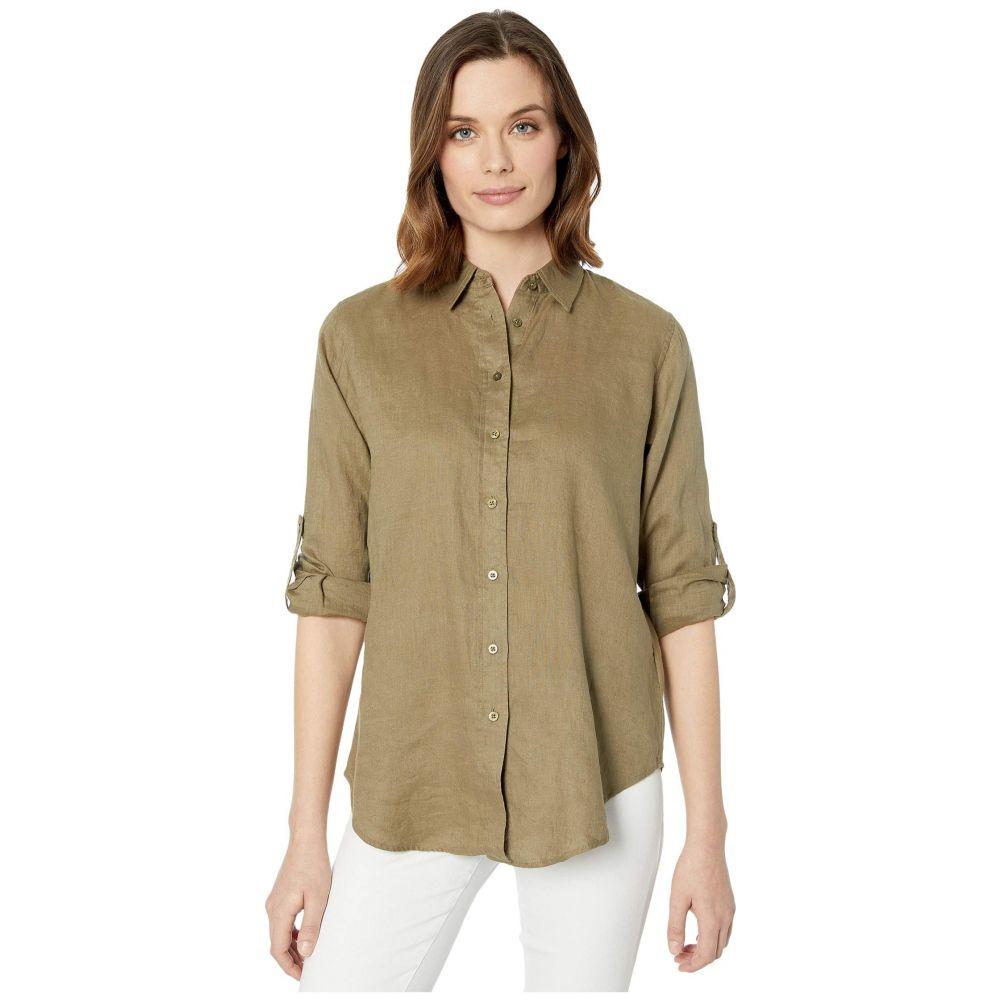 ラルフ ローレン LAUREN Ralph Lauren レディース ブラウス・シャツ トップス【Roll-Tab-Sleeve Linen Shirt】Dry Olive