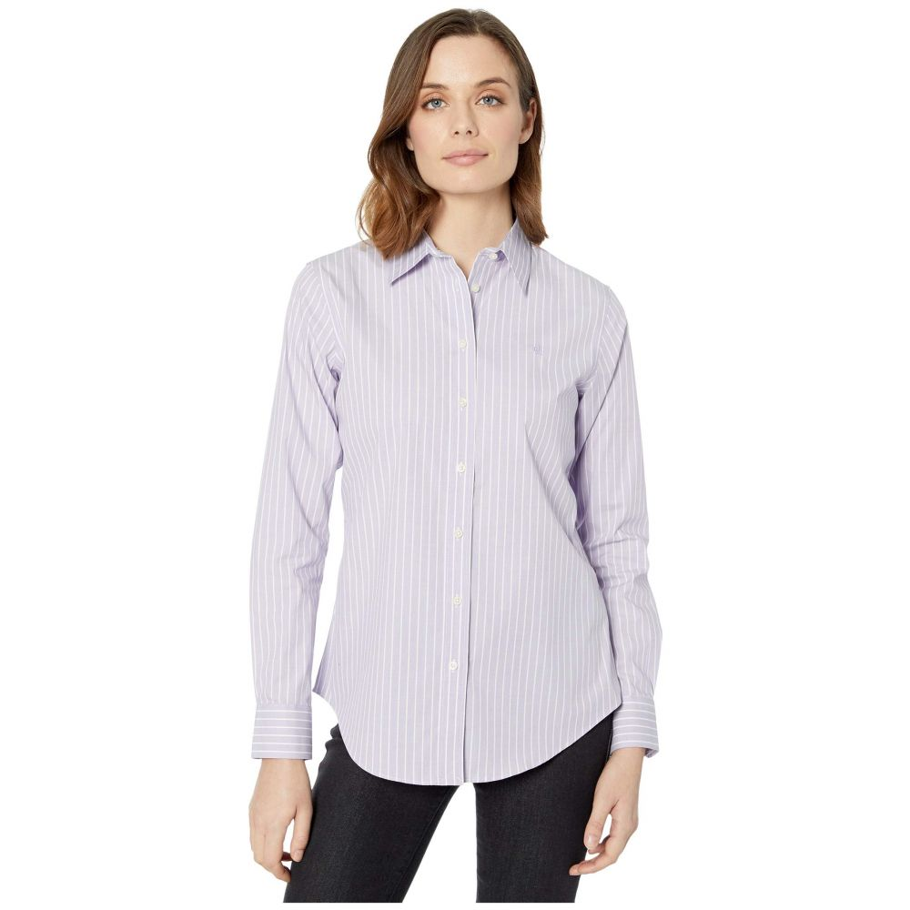 ラルフ ローレン LAUREN Ralph Lauren レディース ブラウス・シャツ トップス【Pinstripe Easy Care Cotton Shirt】Purple/Multi