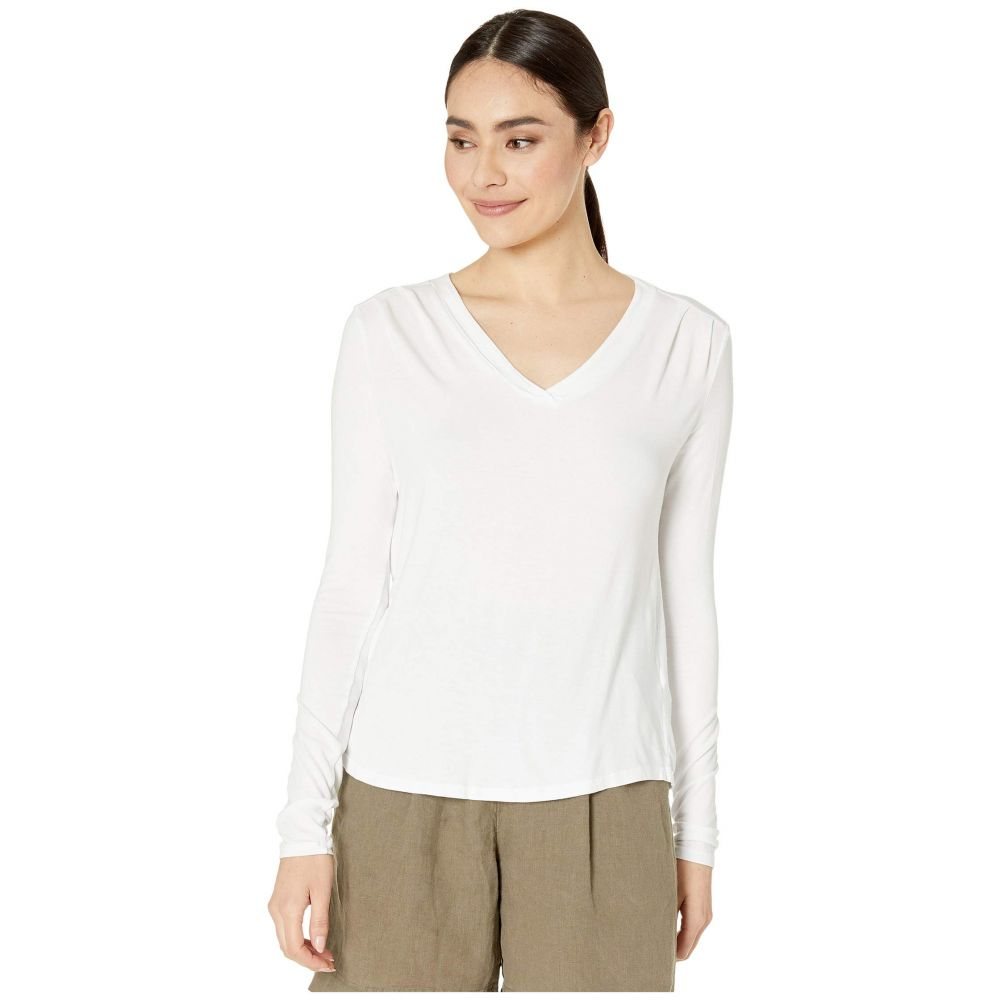 マイケルスターズ Michael Stars レディース 長袖Tシャツ トップス【Lena Luxe Jersey Long Sleeve Shirt w/ Pleats】White