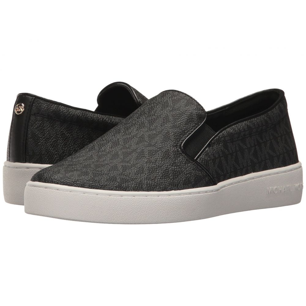 マイケル コース MICHAEL Michael Kors レディース スリッポン・フラット シューズ・靴【Keaton Slip-On】Black Mini MK Logo Coated Canvas/Suprema Nappa Sport