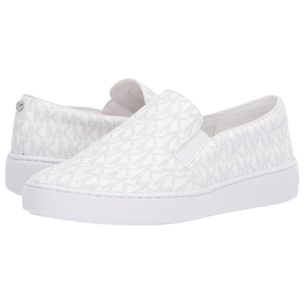 マイケル コース MICHAEL Michael Kors レディース スリッポン・フラット シューズ・靴【Keaton Slip-On】Bright White Mini MK Logo Coated Canvas/Nappa