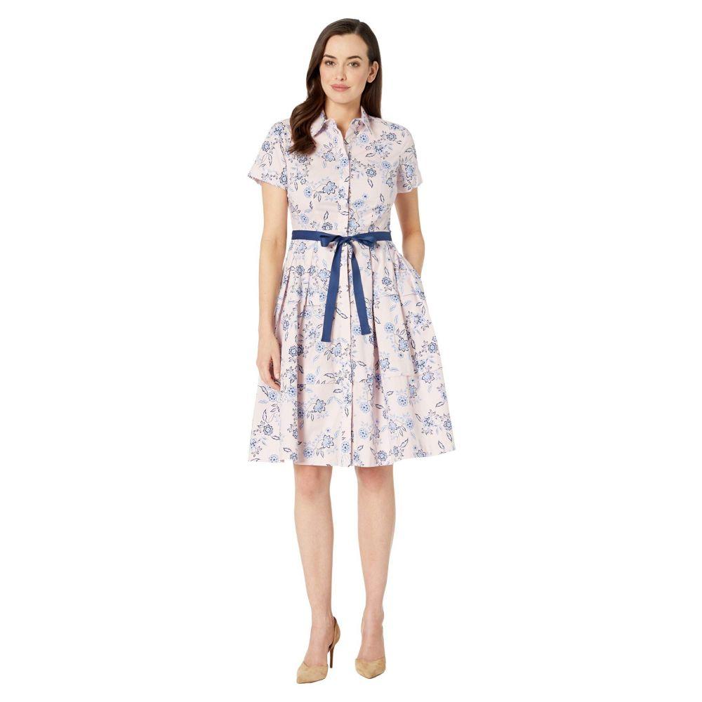 ドナ モルガン Donna Morgan レディース ワンピース シャツワンピース ワンピース・ドレス【Short Sleeve Stretch Cotton Poplin Shirtdress with Contrast Grosgrain Belt】Blush/Blue