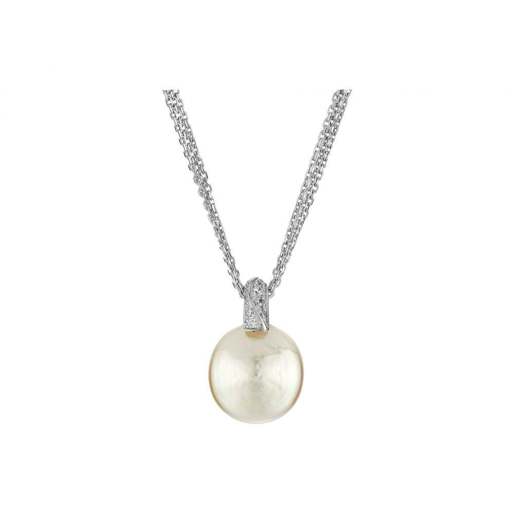 マジョリカ Majorica レディース ネックレス ジュエリー・アクセサリー【Coin Pearl Pendant CZ Necklace】Silver/White