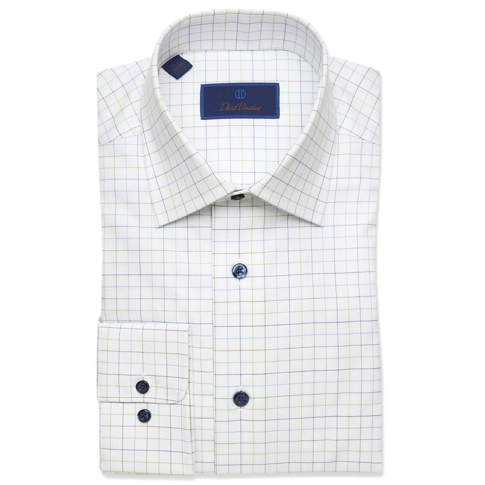 デビッドドナヒュー David Donahue メンズ シャツ トップス【Regular Fit Large Check Dress Shirt】White/Green