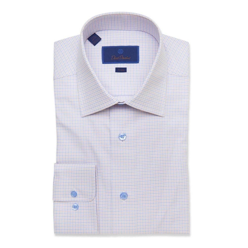 デビッドドナヒュー David Donahue メンズ シャツ トップス【Trim Fit Mirco Plaid Dress Shirt】White/Melon