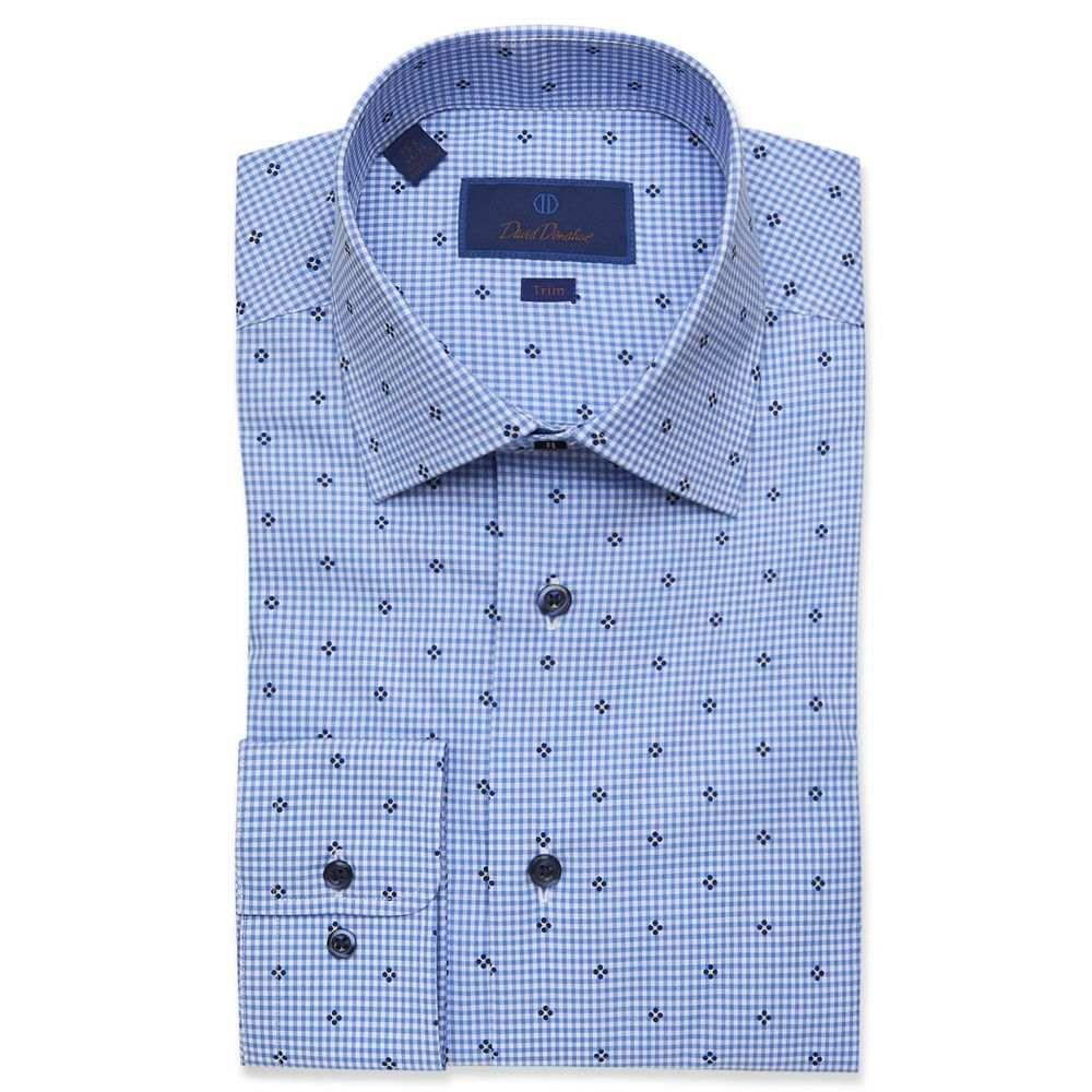 デビッドドナヒュー David Donahue メンズ シャツ トップス【Trim Fit Gingham Dress Shirt】Blue