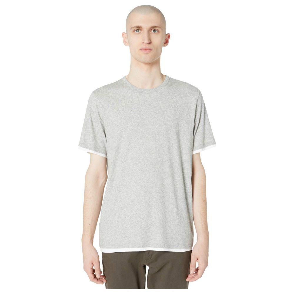 ヴィンス Vince メンズ Tシャツ トップス【Double Layer Short Sleeve Crew Neck Tee】Heather Grey/Optic White