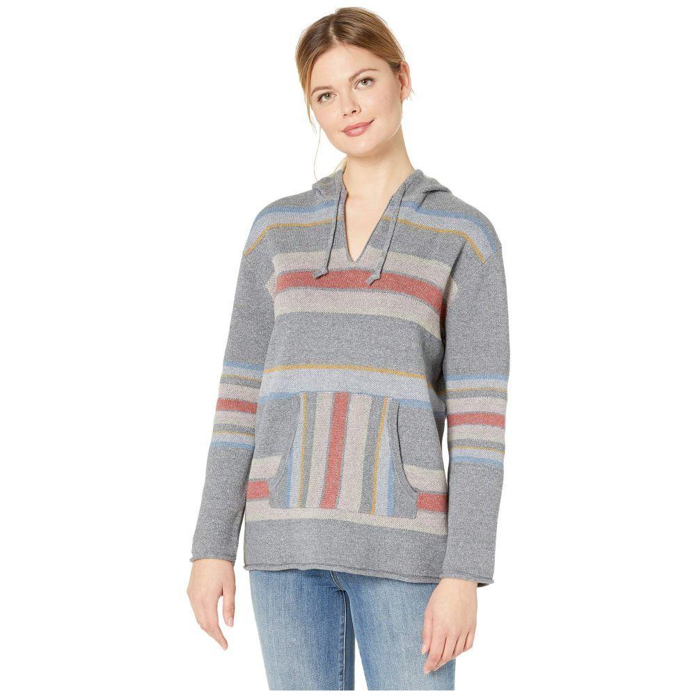 ペンドルトン Pendleton レディース ニット・セーター トップス【Striped Hoodie Cotton Sweater】Soft Grey Heather Multi