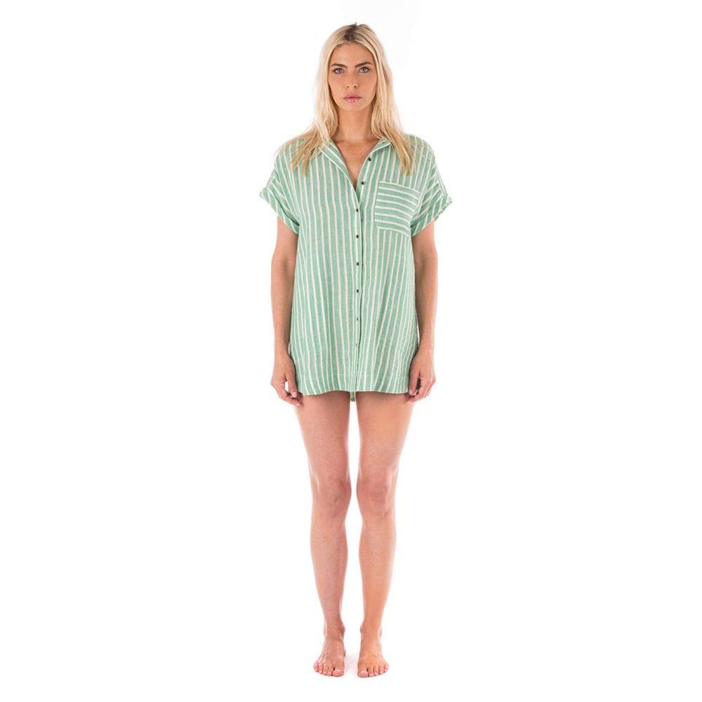 プラッシュ Plush レディース ビーチウェア ワンピース・ドレス 水着・ビーチウェア【Soft Striped Linen Dress】Jade/White Stripe