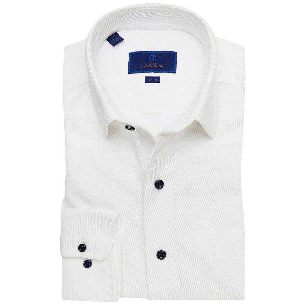 デビッドドナヒュー David Donahue メンズ シャツ トップス【Trim Fit Knit Fusion Shirt】White