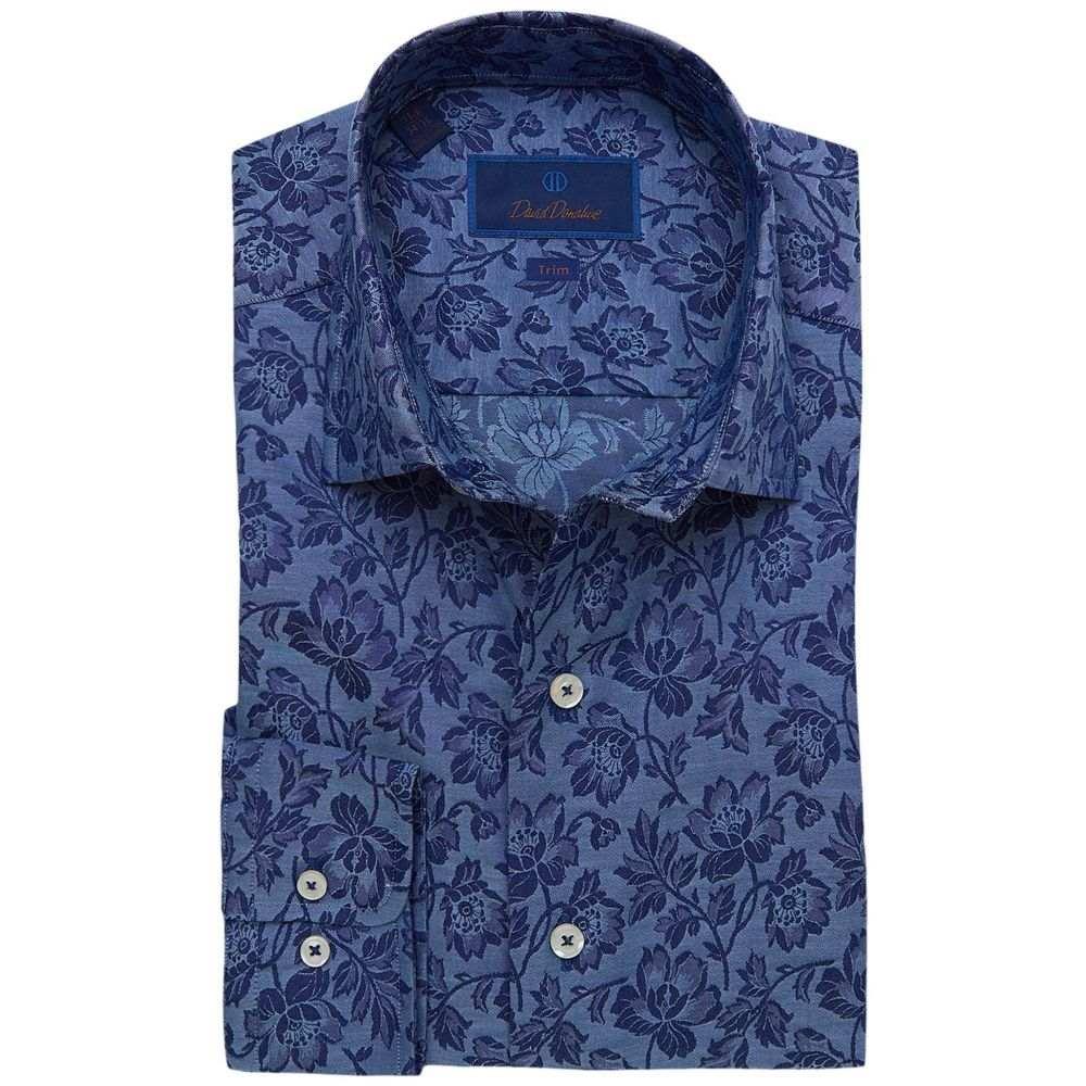 デビッドドナヒュー David Donahue メンズ シャツ トップス【Trim Fit Floral Fusion Shirt】Navy