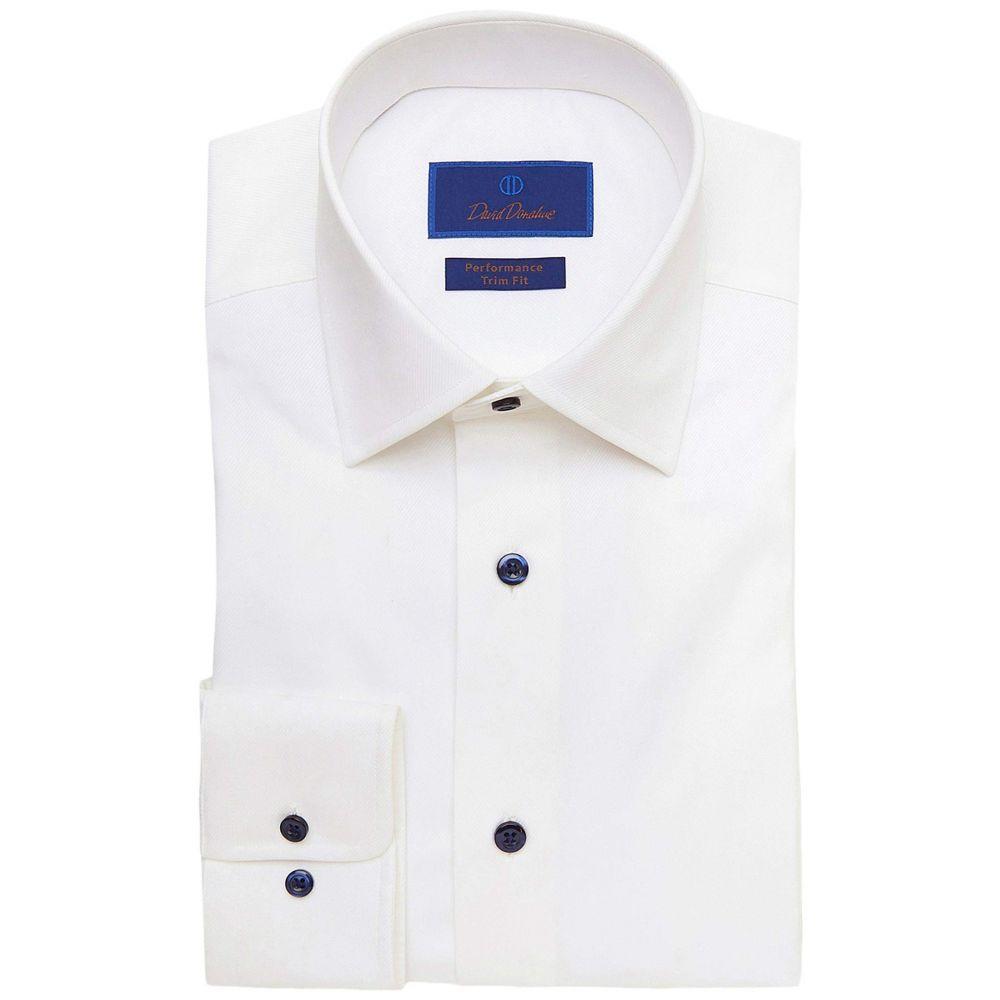 デビッドドナヒュー David Donahue メンズ シャツ トップス【Trim Fit Twill Performance Shirt】White