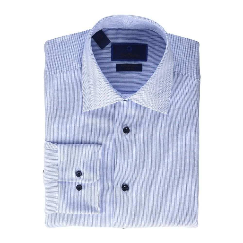 デビッドドナヒュー David Donahue メンズ シャツ トップス【Trim Fit Blue Tonal Dobby Performance Dress Shirt】White/Blue