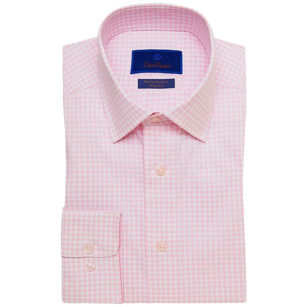 デビッドドナヒュー David Donahue メンズ シャツ トップス【Trim Fit Gingham Performance Dress Shirt】White/Pink