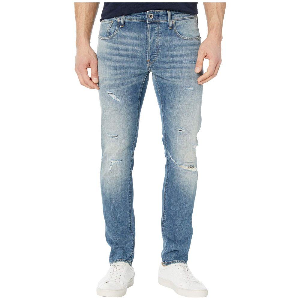 ジースター ロゥ G-Star メンズ ジーンズ・デニム リップドジーンズ ボトムス・パンツ【3301 Slim Jeans in Worn in Ripped Blue Faded】Worn in Ripped Blue Faded