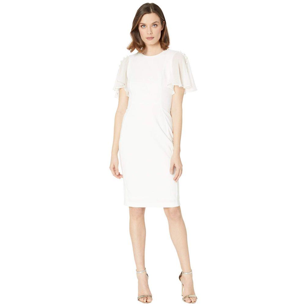 カルバンクライン Calvin Klein レディース ワンピース ワンピース・ドレス【Ruffle Chiffon Sleeve Sheath Dress】Cream