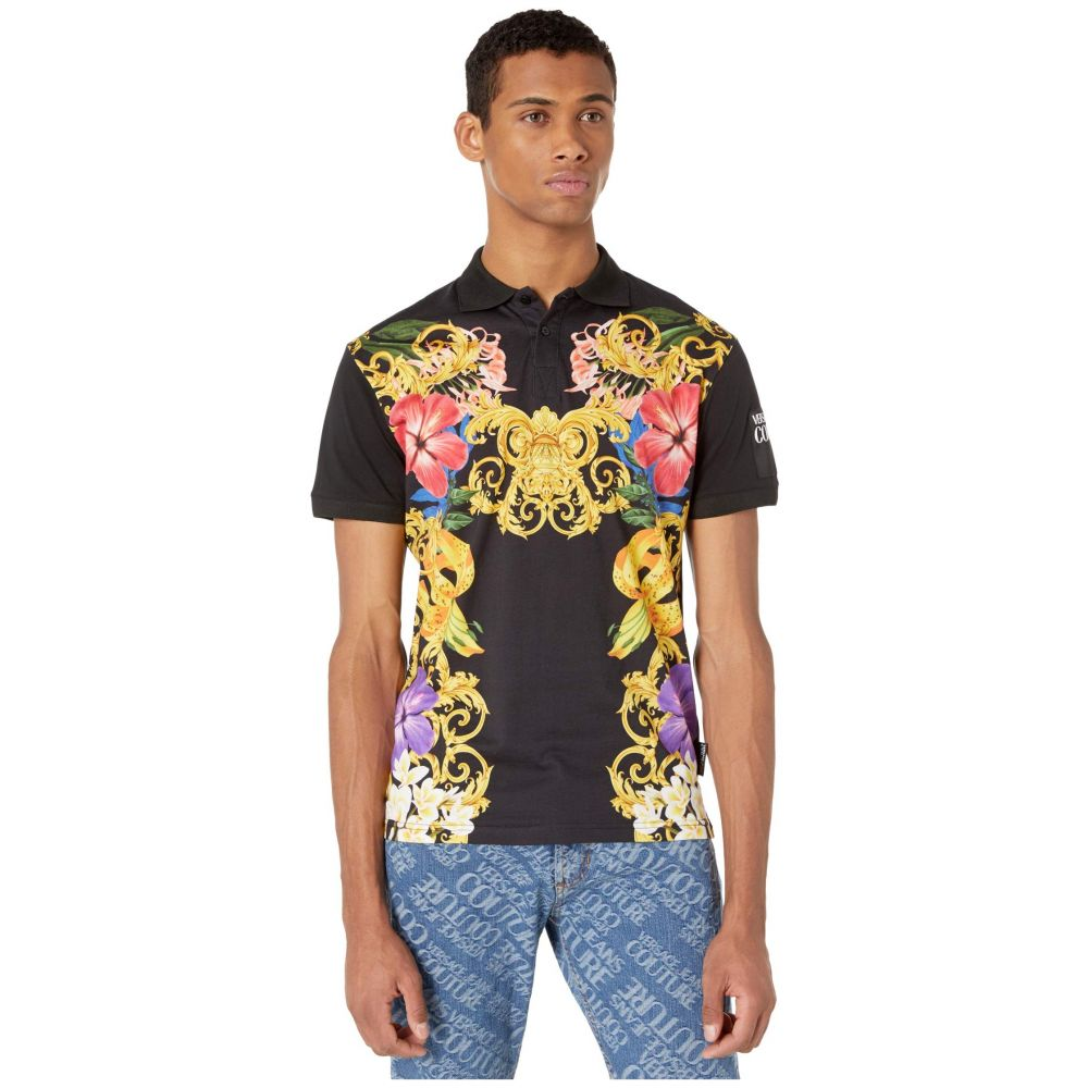 ヴェルサーチ Versace Jeans Couture メンズ ポロシャツ トップス【Jungle Baroque Print Polo】Black