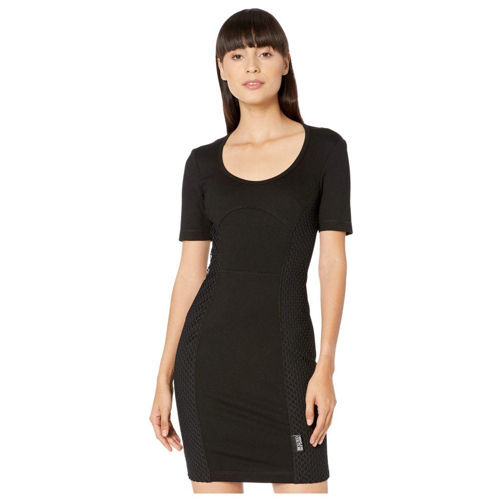 ヴェルサーチ Versace Jeans Couture レディース ワンピース ワンピース・ドレス【Short Sleeve Scoop Neck Mini Dress with Mesh Net Insert】Black
