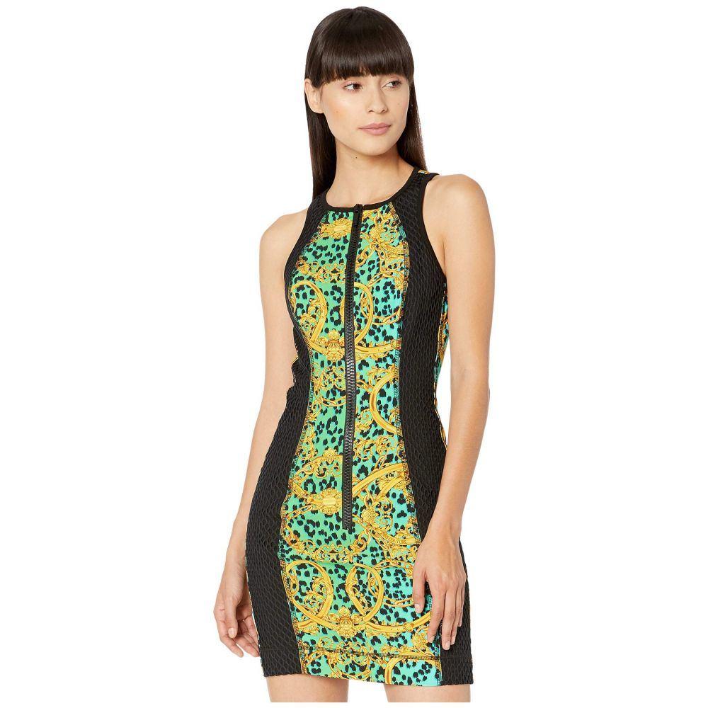 ヴェルサーチ Versace Jeans Couture レディース ワンピース タンクドレス ワンピース・ドレス【Leo Chain Print Zip Front Tank Dress with Black Mesh Net Insert】Pure Mint