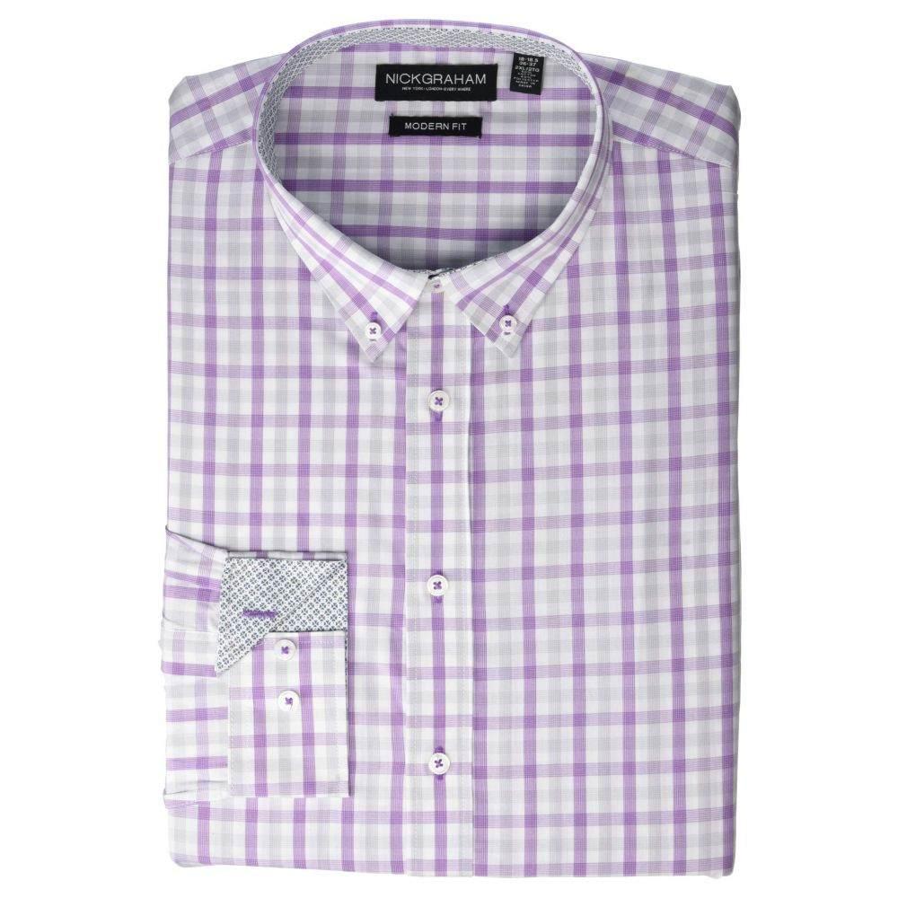 ニック グラハム Nick Graham メンズ シャツ トップス【Plaid Print CVC Yarn-Dye Dress Shirt】Purple
