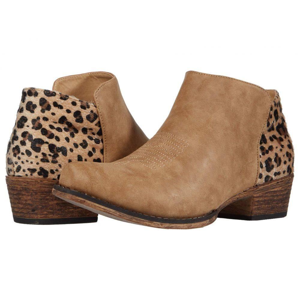 ローパー Roper レディース ブーツ シューズ・靴【Sedona】Tan Faux Leather Vamp/Leopard Print Heel
