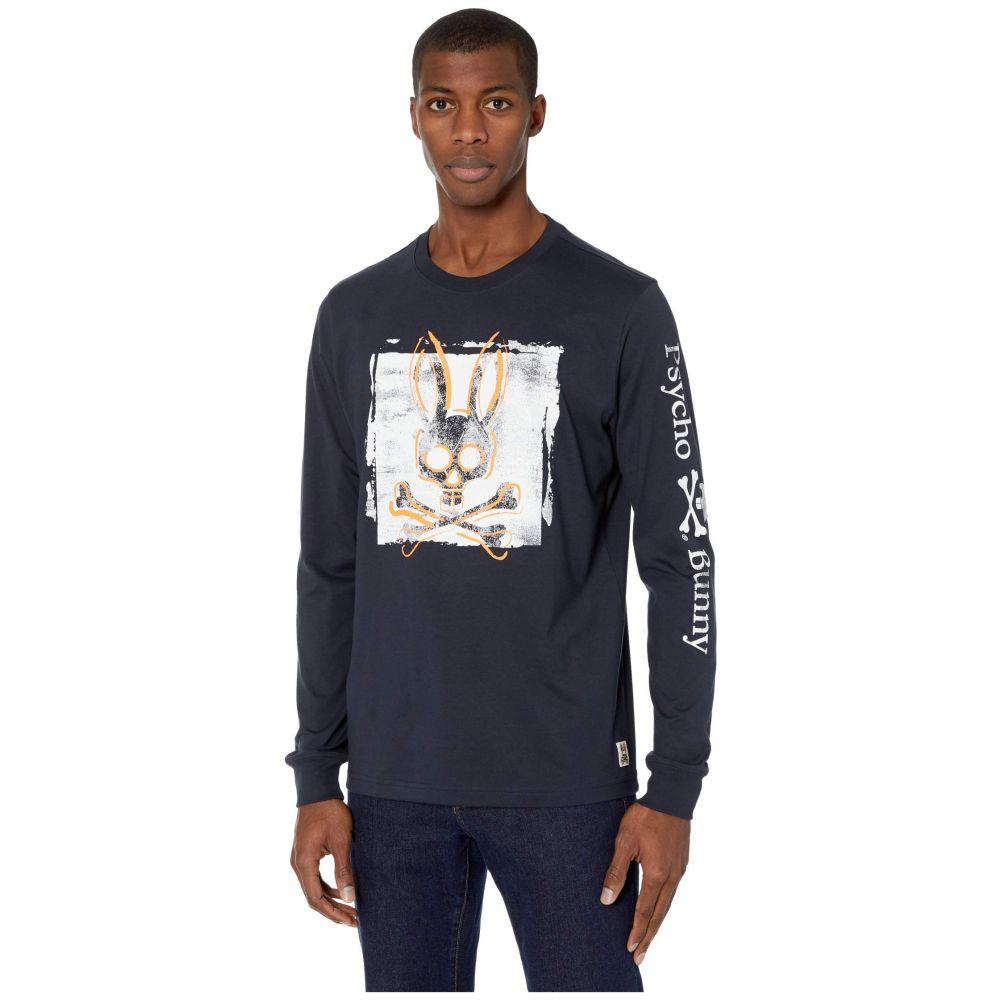 サイコバニー Psycho Bunny メンズ 長袖Tシャツ ネックストラップ トップス【Lanyard Long Sleeve T-Shirt】Navy