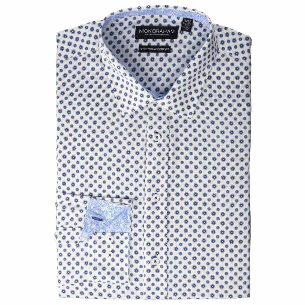 ニック グラハム Nick Graham メンズ シャツ トップス【Daisy Floral CVC Stretch Dress Shirt】White