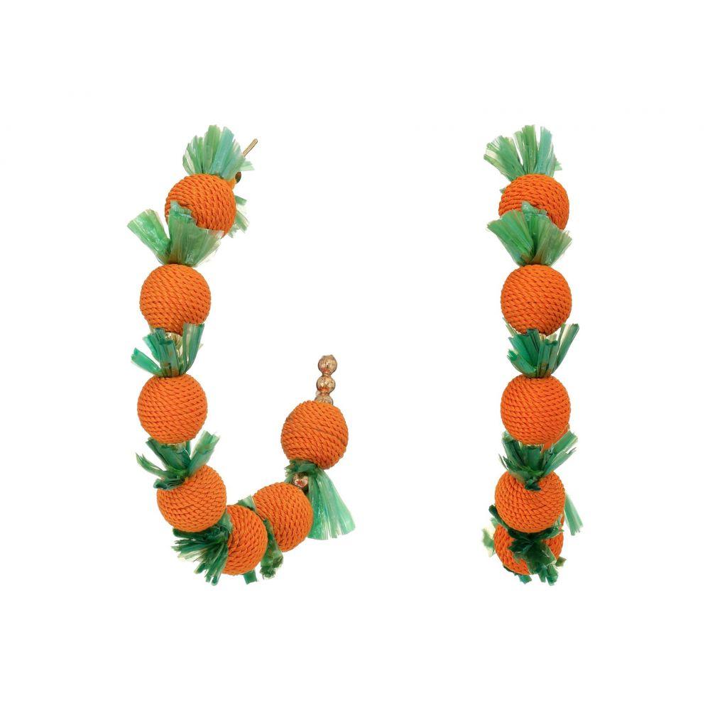 ケネスジェイレーン Kenneth Jay Lane レディース イヤリング・ピアス ジュエリー・アクセサリー【2'X2' 'C' Shape Post Hoop Earrings with Oranges】