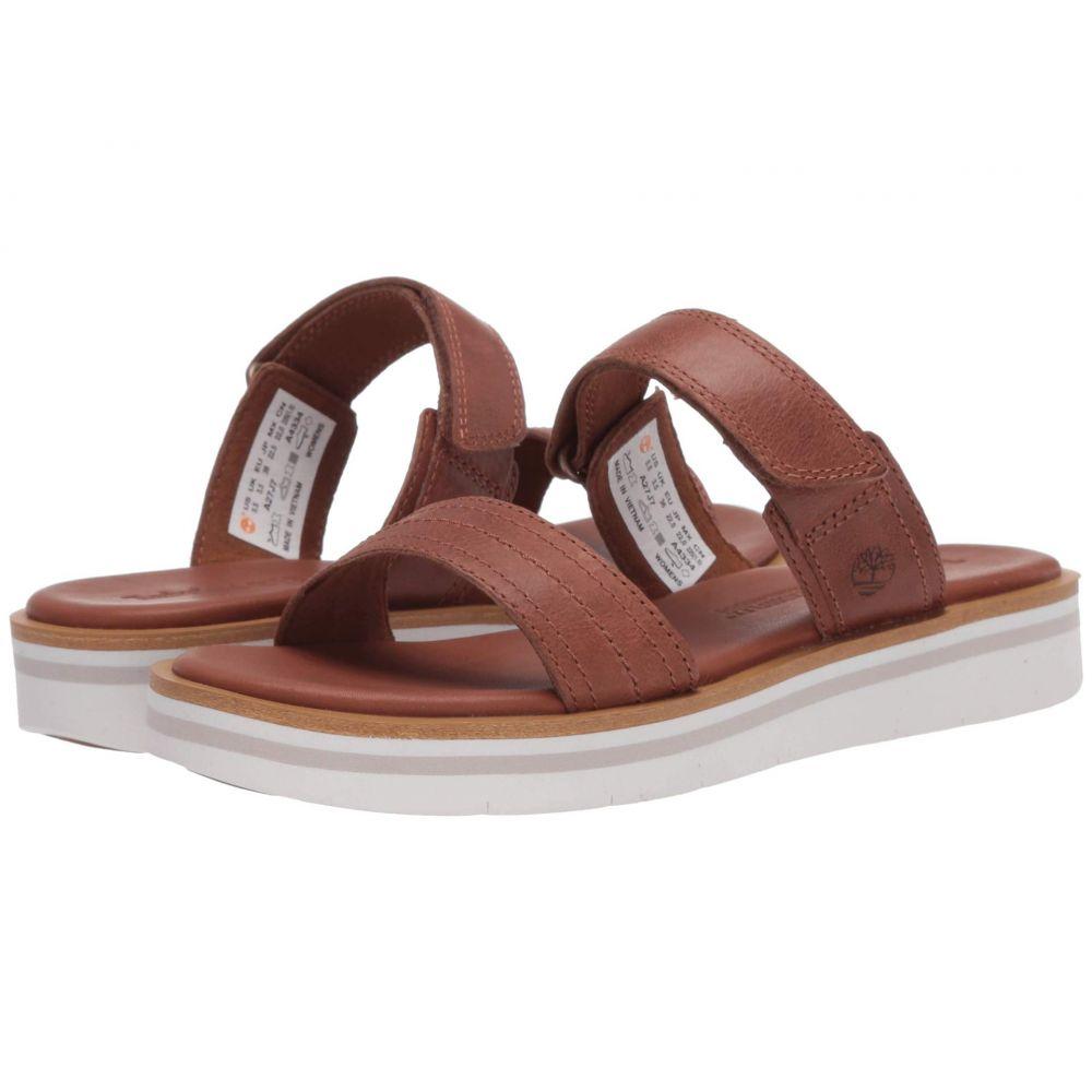 ティンバーランド Timberland レディース サンダル・ミュール シューズ・靴【Adley Shore 2-Band Slide】Medium Brown Full Grain Leather