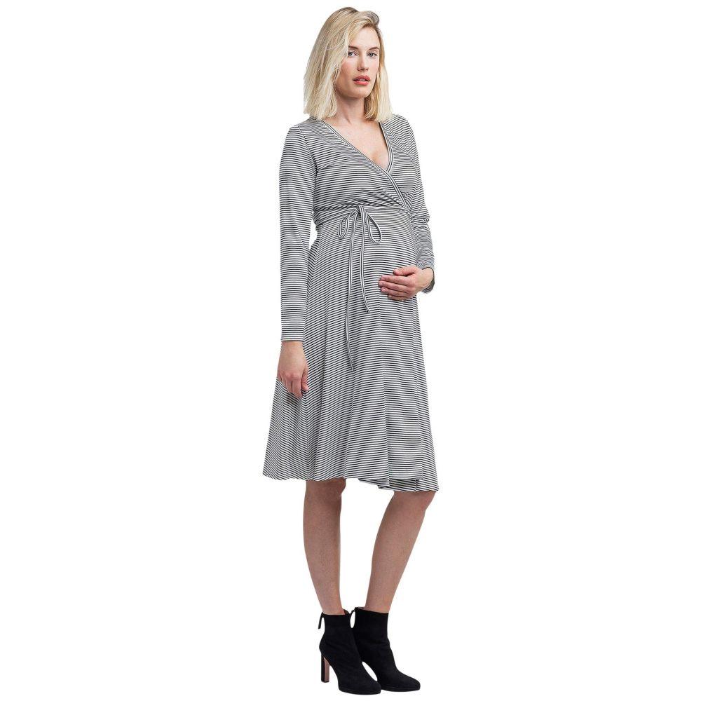 ノム NOM Maternity レディース ワンピース マタニティウェア ラップドレス ワンピース・ドレス【Tessa Maternity + Nursing Wrap Dress】Black/White Stripe