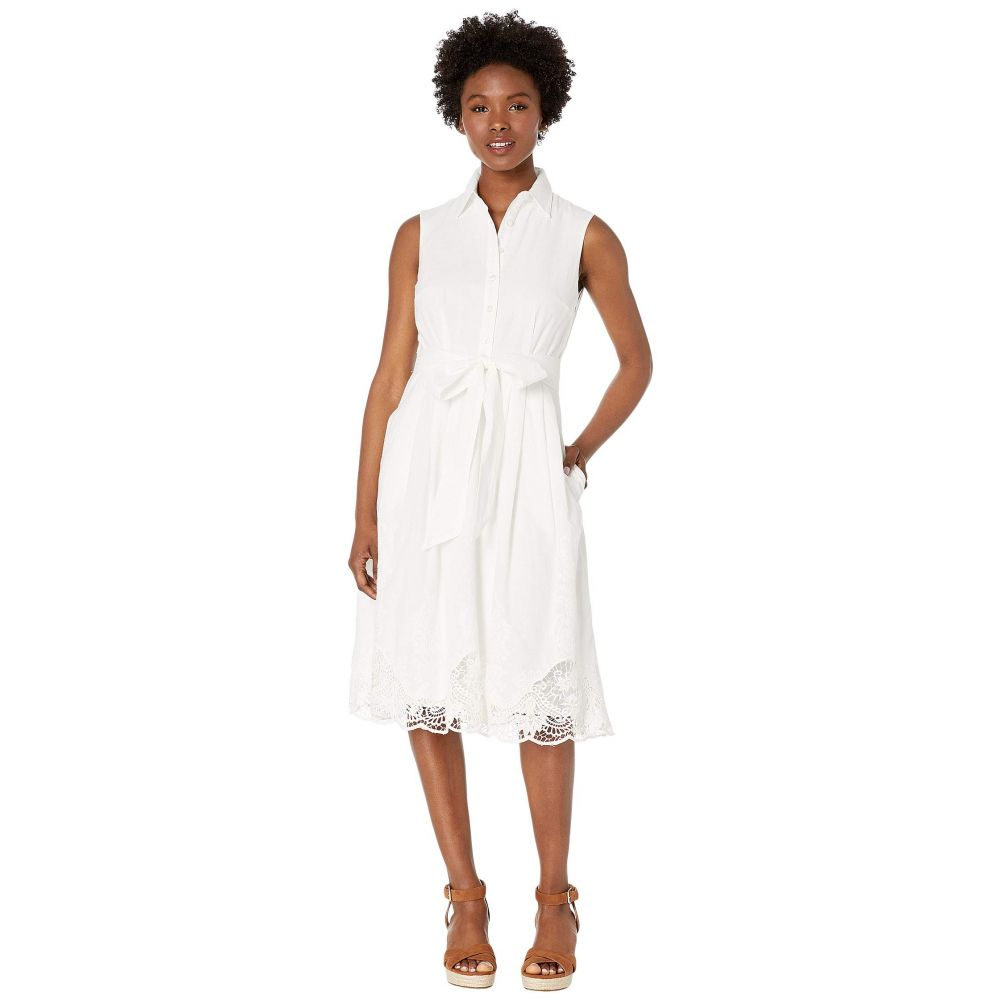 タハリ Tahari by ASL レディース ワンピース シャツワンピース ノースリーブ ワンピース・ドレス【Petite Sleeveless Button Front Shirtdress w/ Embroidery】White