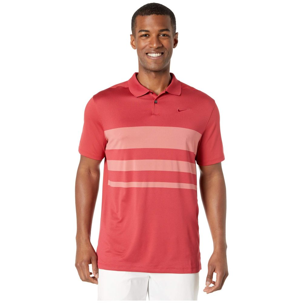 ナイキ Nike Golf メンズ ポロシャツ トップス【Dry Vapor Polo Stripe】Sierra Red/Light Redwood/Sierra Red