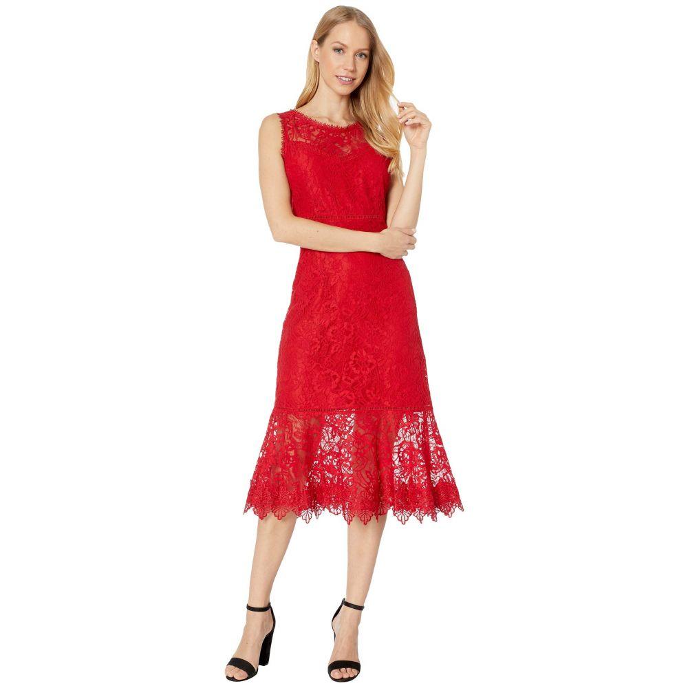 ビービーダコタ BB Dakota レディース ワンピース ミドル丈 ワンピース・ドレス【Hearing Sirens Floral Lace Midi Dress】Bright Red