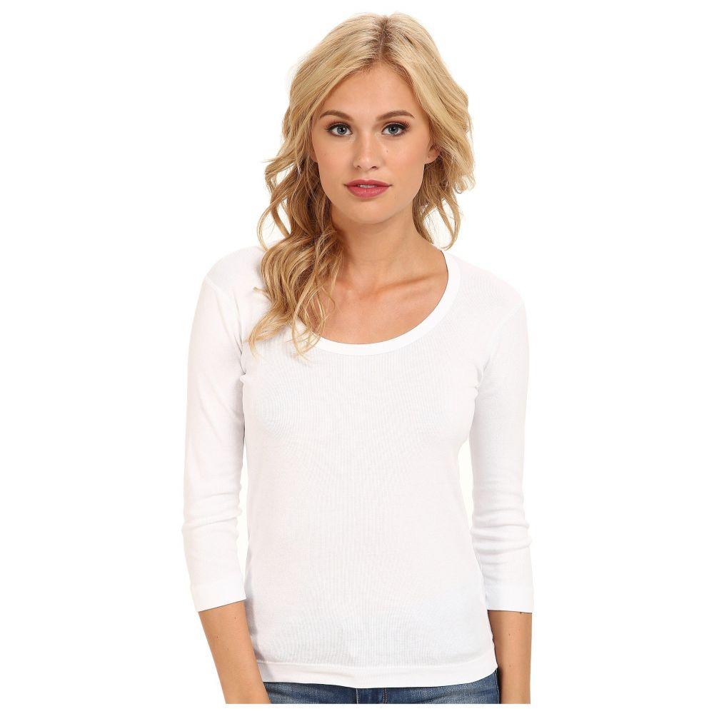 スリードッツ Three Dots レディース 長袖Tシャツ 七分袖 トップス【100% Cotton Heritage Knit 3/4 Sleeve Scoop Neck】White
