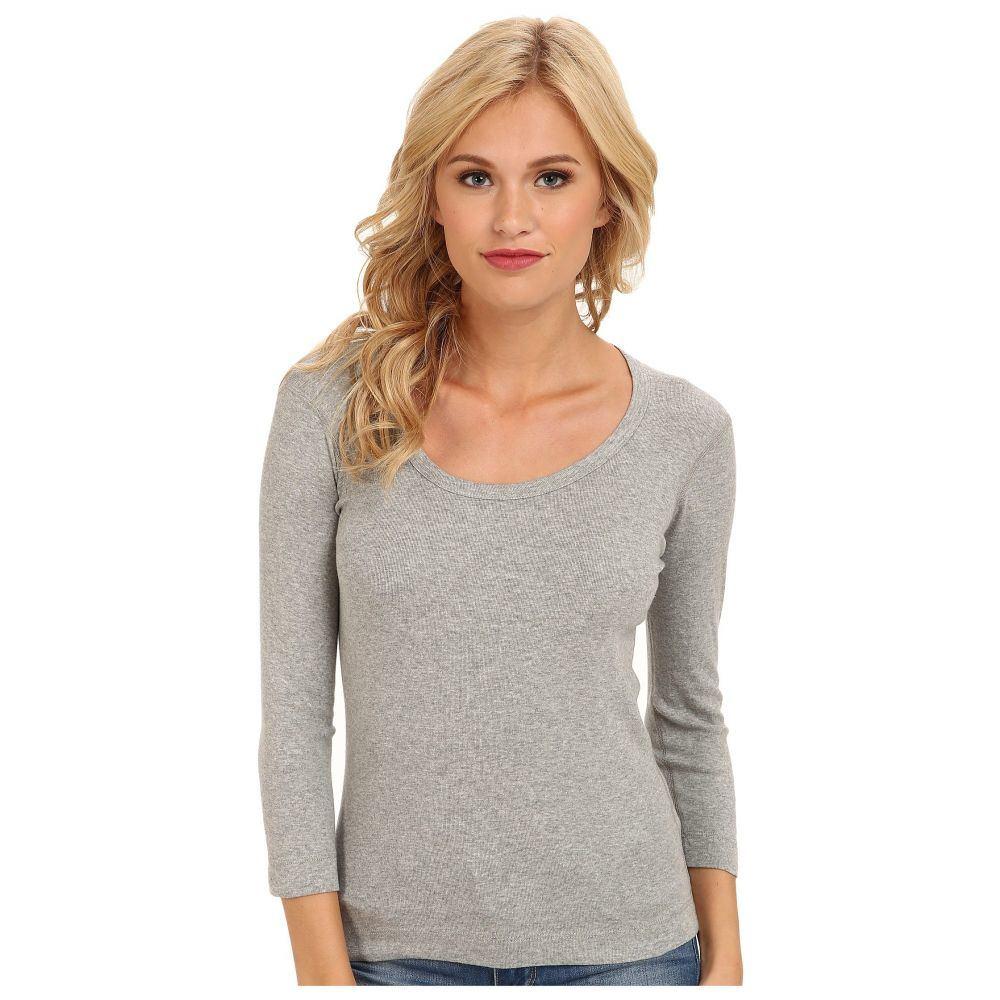 スリードッツ Three Dots レディース 長袖Tシャツ 七分袖 トップス【100% Cotton Heritage Knit 3/4 Sleeve Scoop Neck】Granite