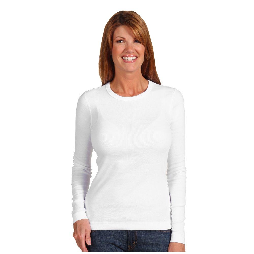 スリードッツ Three Dots レディース 長袖Tシャツ トップス【100% Cotton Heritage Knit Long Sleeve Crewneck】White