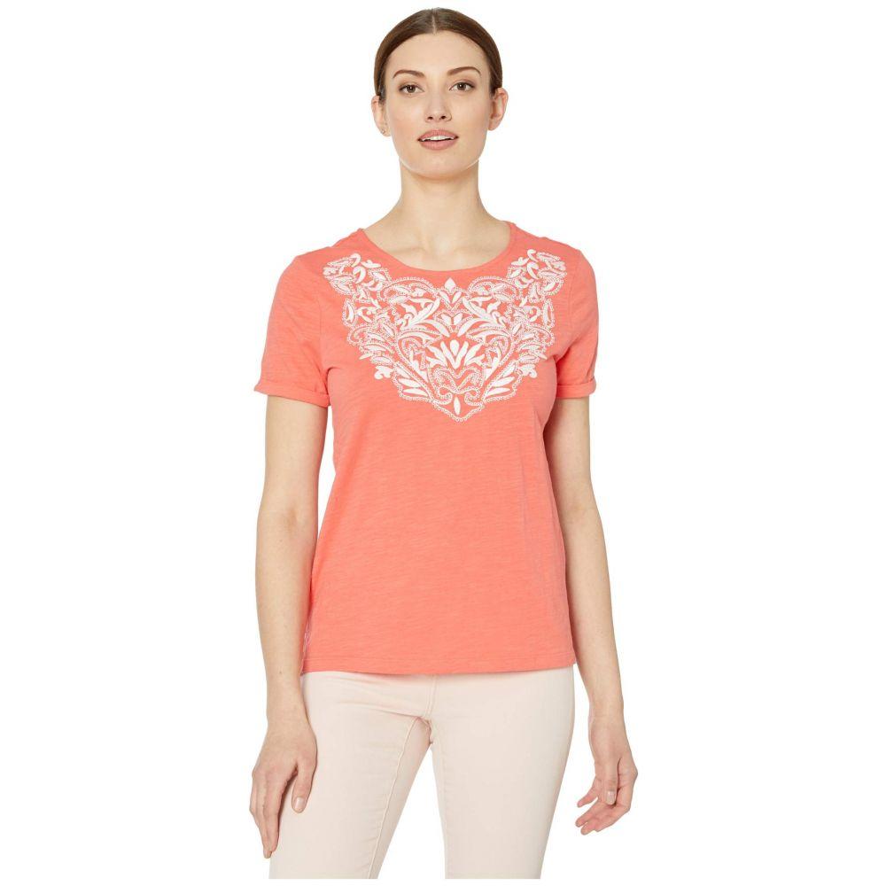 トリバル Tribal レディース Tシャツ トップス【Short Sleeve Embroidered Top】Deep Coral