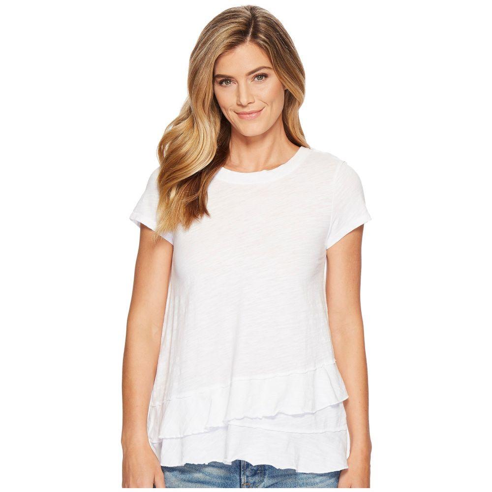 モドオードック Mod-o-doc レディース Tシャツ トップス【Slub Jersey Asymmetrical Flounce Hem T-Shirt】White