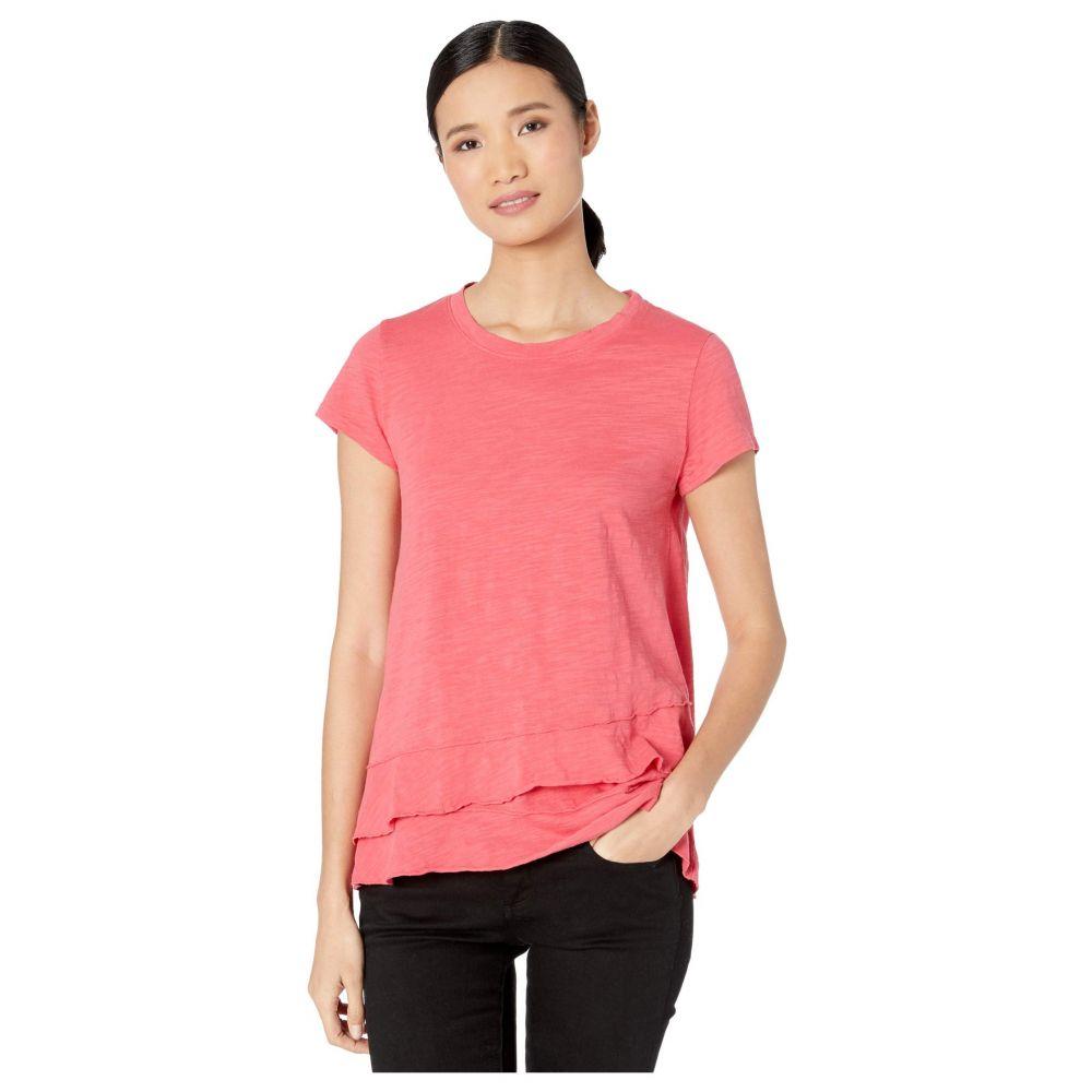 モドオードック Mod-o-doc レディース Tシャツ トップス【Slub Jersey Asymmetrical Flounce Hem T-Shirt】Azalea