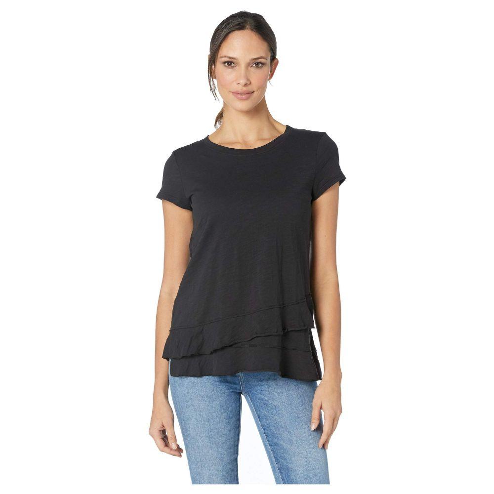 モドオードック Mod-o-doc レディース Tシャツ トップス【Slub Jersey Asymmetrical Flounce Hem T-Shirt】Black