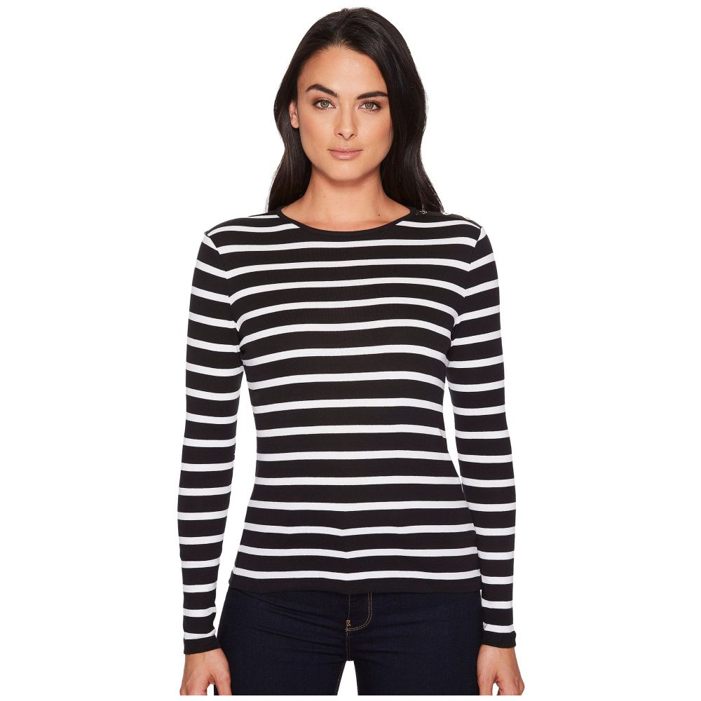 ラルフ ローレン LAUREN Ralph Lauren レディース Tシャツ トップス【Striped Button-Shoulder Top】Black/White