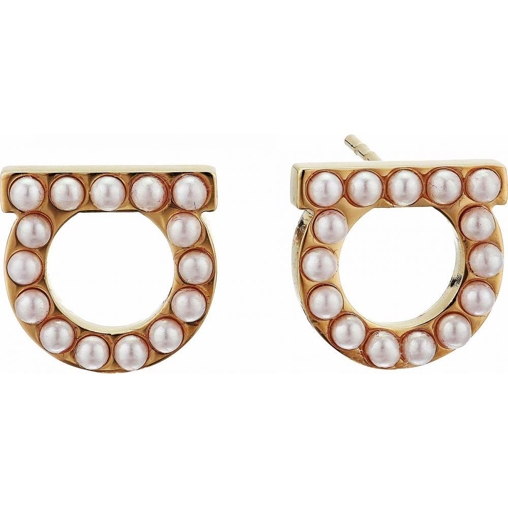 サルヴァトーレ フェラガモ Salvatore Ferragamo レディース イヤリング・ピアス ジュエリー・アクセサリー【Stud Gancini Pearl Earrings】Studmicroperle Cream/Orogiovel
