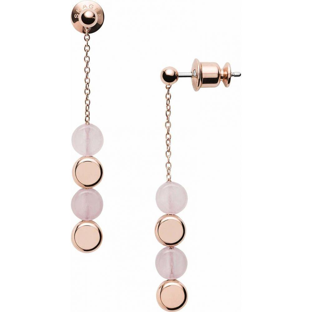 スカーゲン Skagen レディース イヤリング・ピアス ジュエリー・アクセサリー【Ellen Rose-Tone Stainless Steel Rose Quartz Earrings】