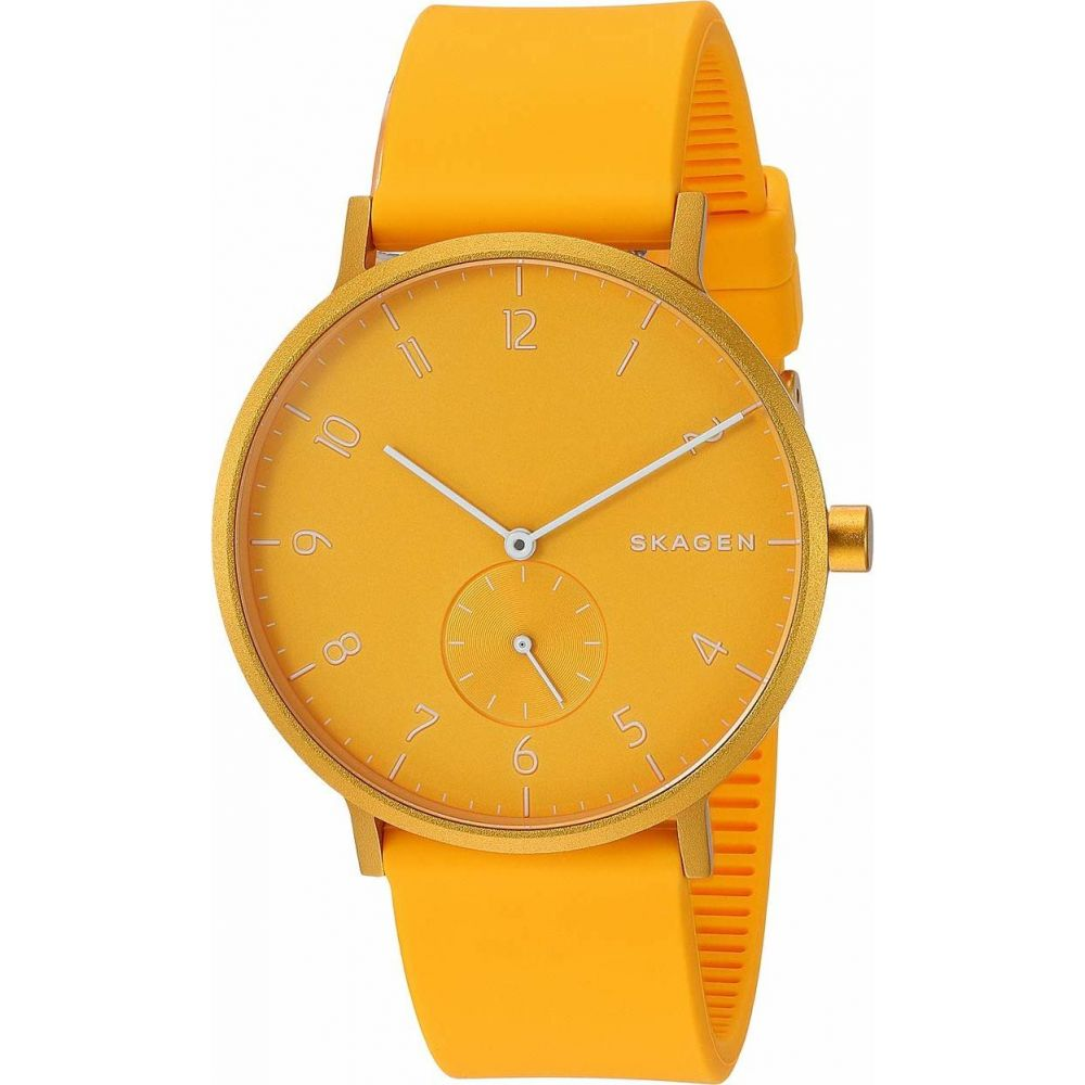スカーゲン Skagen メンズ 腕時計 【Aaren Kulor 41mm Three-Hand Silicone Watch】SKW Yellow Silicone