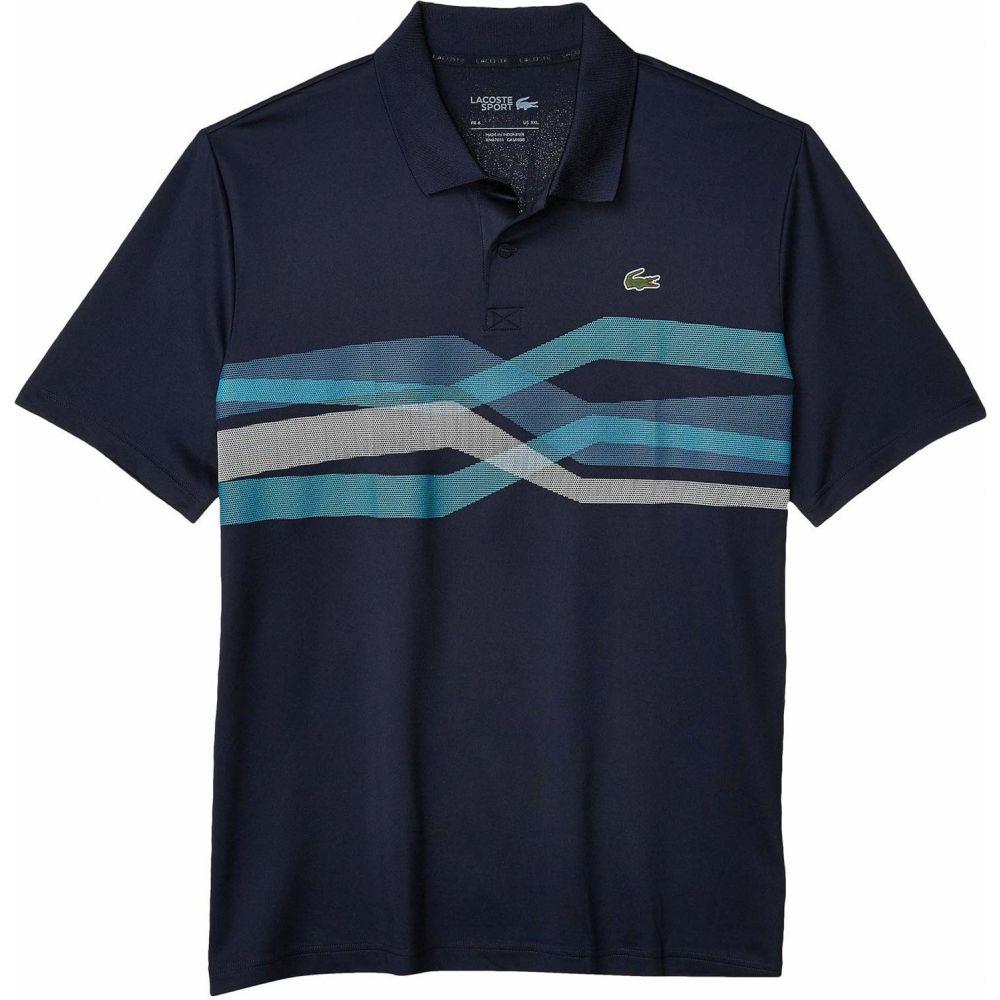ラコステ Lacoste メンズ ポロシャツ 半袖 トップス【Short Sleeve Center Chest Graphic Polo】Navy Blue/Cuba/Mariner/White