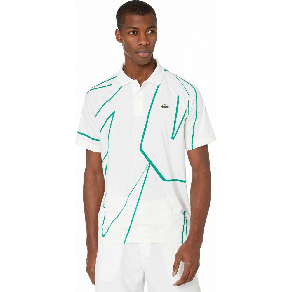 ラコステ Lacoste メンズ ポロシャツ 半袖 トップス【Novak Djokovic Short Sleeve Ultra Dry Vertical All Over Print Polo】White/Yucca