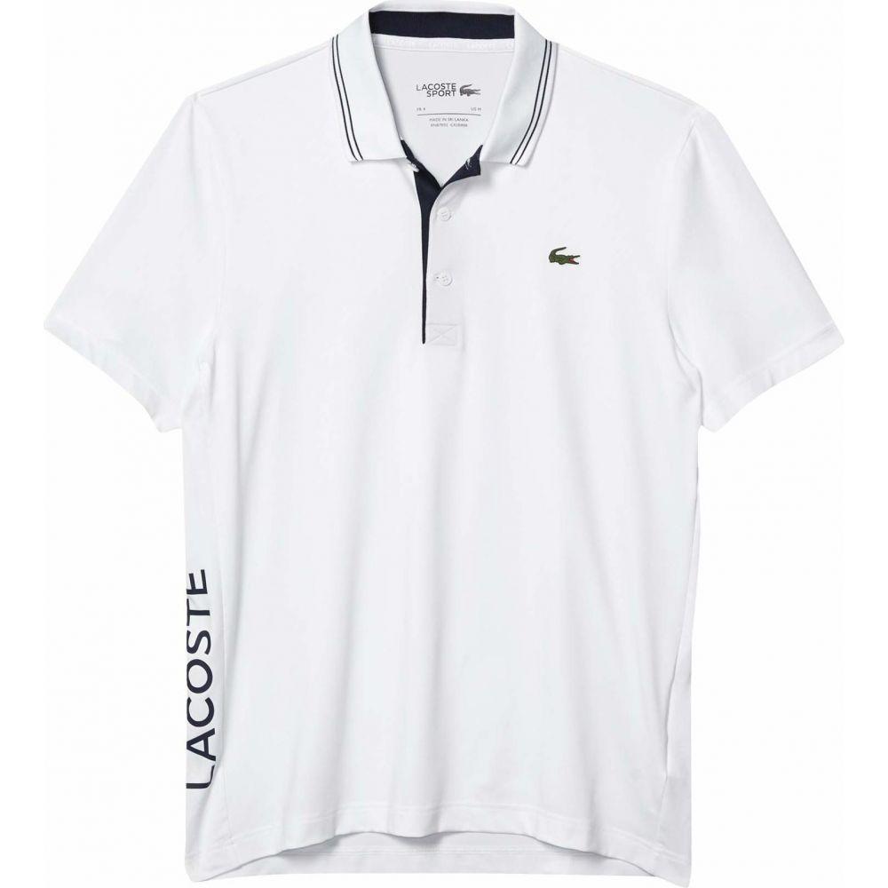 ラコステ Lacoste メンズ ポロシャツ 半袖 トップス【Short Sleeve Jersey S-Dry Side Logo Polo】White/Navy Blue/Navy Blue