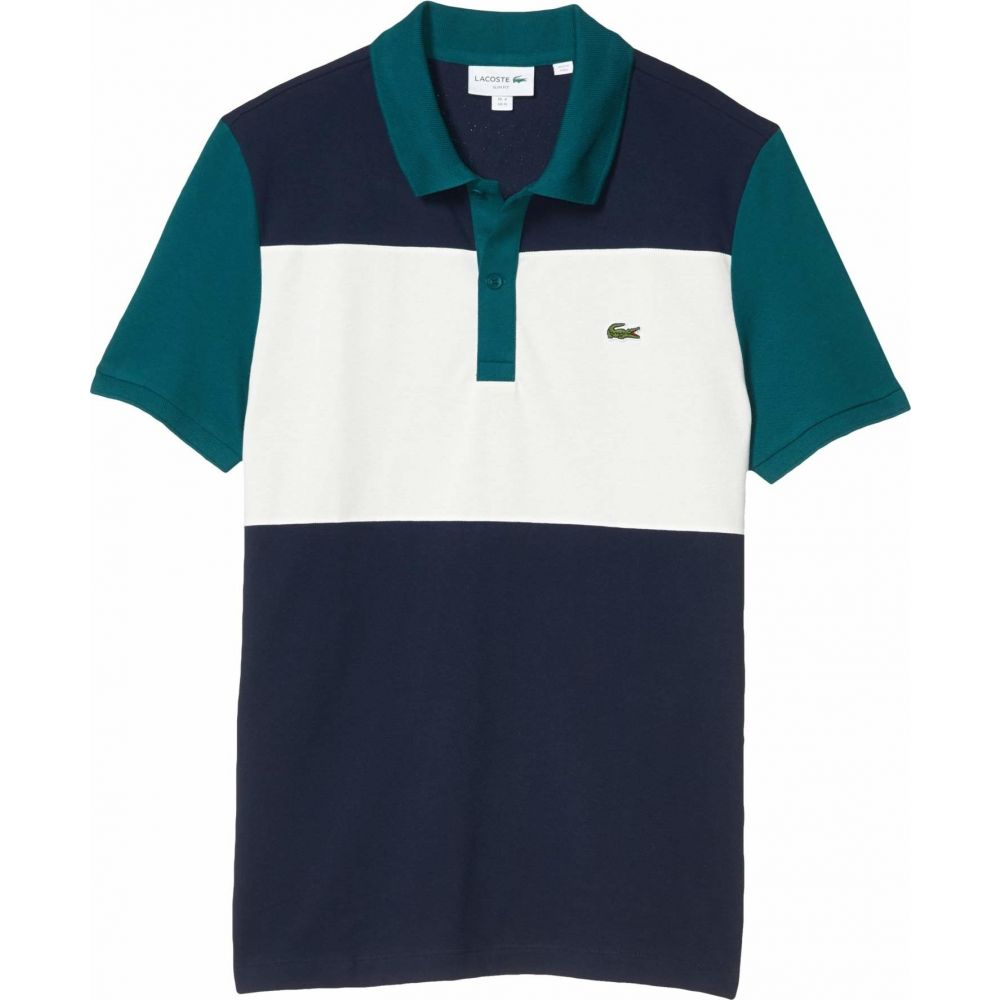 ラコステ Lacoste メンズ ポロシャツ 半袖 トップス【Short Sleeve Striped Color-Blocked Polo】Navy Blue/Flour/Pine