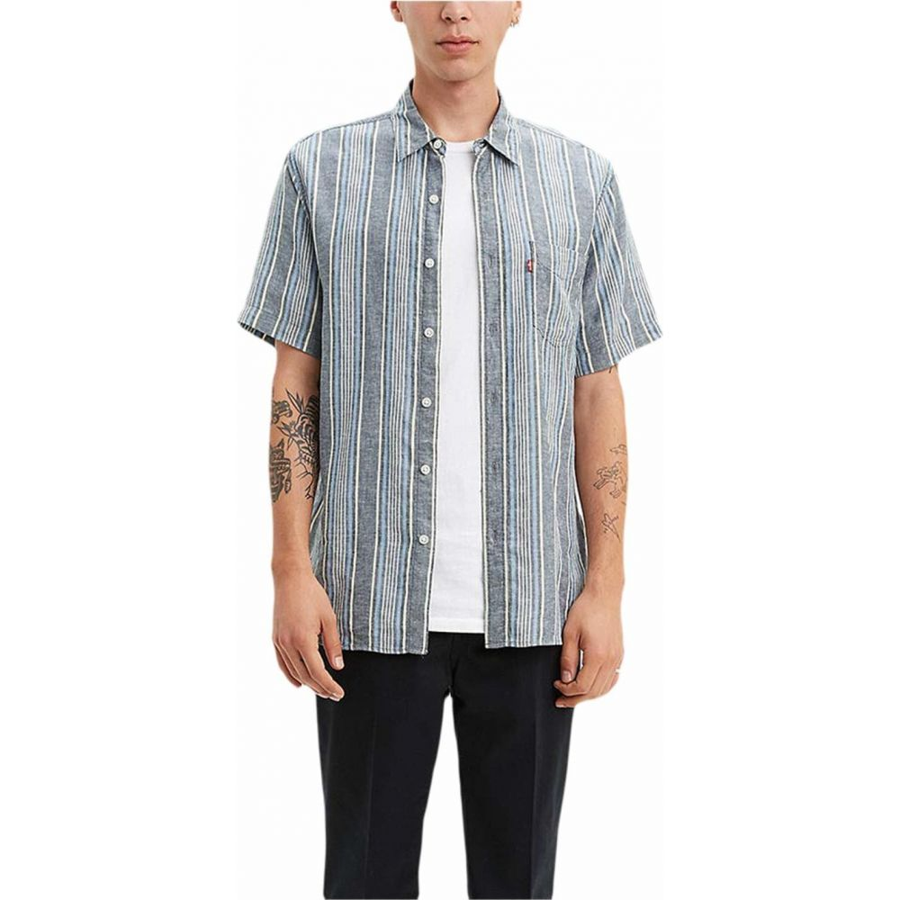 リーバイス Levi's Premium メンズ 半袖シャツ トップス【Short Sleeve Sunset One-Pocket Standard】Aiden Dress Blues Stripe